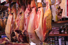 Jamon market in the La Boqueria on May 04, 2013 in Stock Image