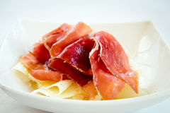 Jamon with melon . Stock Photo