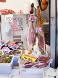 Jamon and olives at market Royalty Free Stock Image