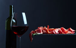 Jamon with red wine Royalty Free Stock Image