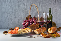 Jamon and red wine Royalty Free Stock Image