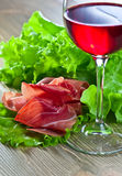 Jamon and red wine Royalty Free Stock Images