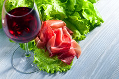 Jamon and red wine Stock Photography