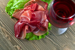 Jamon and red wine Royalty Free Stock Photo