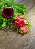 Jamon and red wine Royalty Free Stock Photography