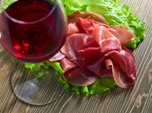 Jamon and red wine Royalty Free Stock Photos