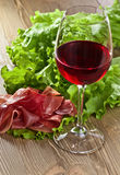 Jamon and red wine Stock Photo