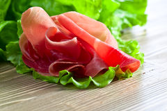 Jamon with salad Royalty Free Stock Images
