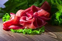 Jamon with salad Stock Photos