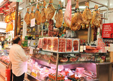 Jamon for sale in Valencia, Spain Royalty Free Stock Image