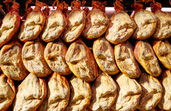 Jamon serrano ham from Spain whole in a row Royalty Free Stock Image