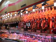 Jamon shop market in Madrid, Spain royalty free stock images
