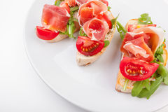Jamon. Slices of Bread Stock Photography