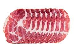 Jamon slices isolated on white background Stock Photo
