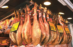 Jamon (spanish ham, hamon), iberico and joselito. Royalty Free Stock Images