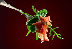 Jamon with spinach and arugula Royalty Free Stock Photography