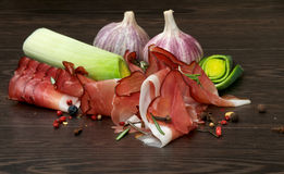 Jamon and Vegetables Stock Photo