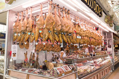 Jamones, ham stall at the Central Market in Valencia Stock Photo