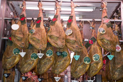 Jamones, ham stall at the Central Market in Valencia Stock Photography