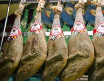 Jamons in jamon museum in Madrid Royalty Free Stock Photos