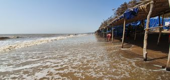 Jampore海滩,daman,古杰雷特,印度 免版税库存图片