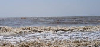 Jampore海滩,daman,古杰雷特,印度 图库摄影