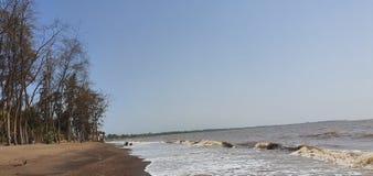 Jampore海滩,daman,古杰雷特,印度 免版税库存照片