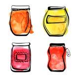 Jampotten met waterverfvlekken Stock Afbeeldingen