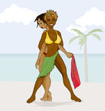Jamrock and Trini Girl on the beach. Two beautiful island women represent Jamaica and Trinidad respectively on the sunny beach vector illustration
