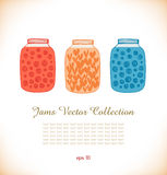 Jams drawn collection  Strawberry jam  Raspberry j Stock Photo