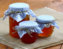 Jams and jellies in glass jars