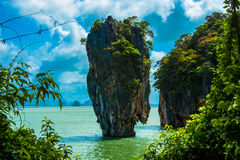 James Bond Island - khao phing kan. Khao phing kan is famous with the name of james bond island in thailand Royalty Free Stock Photos