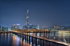 Jamsil-ponte e Han River, Seoul, Coreia Imagens de Stock Royalty Free