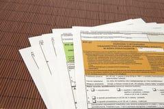 JAMY deklaracja - Polski podatku dokument Obraz Stock