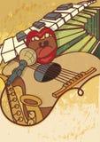Jamzitting, jazz, het overleg vectorachtergrond van de blauwmuziek flayer, retro stijl stock illustratie