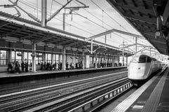 Shinkansen E3 Series High speed train approching at Aizu Wakamatsu station. stock images