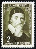 Jan Amos Komensky John Amos Comenius, czech philosopher, pedagogue and theologist, circa 1958. MOSCOW, RUSSIA - APRIL 2, 2017: A post stamp printed in Romania Stock Photos