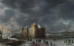 Jan Beerstraaten - le château de Muiden en hiver photos stock