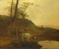 Jan Both - Männer mit einem Ochsen und Vieh durch ein Pool lizenzfreie stockfotos