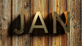 JAN brass write on raw wooden background - 3D rendering. The write JAN - that stays for JANUARY - written with brass letters laying on a raw wooden background royalty free illustration