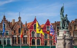 Jan Breydel och Pieter De Coninck statyer, Bruges royaltyfri fotografi