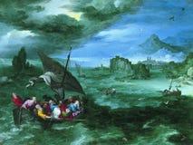 Jan Brueghel Ja - Chrystus w burzy na morzu Galilee, 1596 fotografia stock