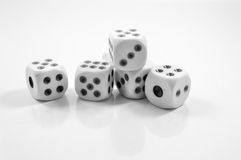2 JAN 2017 CLOSE UP DICE BLACK AND WHITE Stock Photo