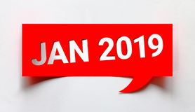 Jan 2019 creative word. Creative January 2019 word cut from paper isolated on white background. New year is the first day of the year in the Gregorian calendar stock illustration