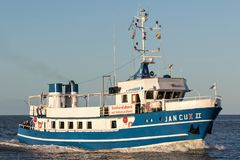 JAN CUX II. On the river Elbe. This excursion boat operates sightseeing tours in the Elbe estuary, especially to the seal banks Stock Images