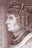 Jan Dlugosz portrait. From Polish money Stock Images