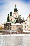 Jan Gus statue and st. Nicolaus cathedral Royalty Free Stock Image
