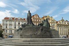 Jan Hus à la vieille place, Prague, République Tchèque photographie stock libre de droits