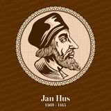 Jan Hus 1369 – 1415 was a Czech theologian, Catholic priest, philosopher, master, dean, and rector of the Charles University. In Prague who became a royalty free illustration