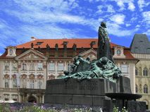 Jan Hus. Statue in Old Town Square, Prague, Czech Republic Stock Photography